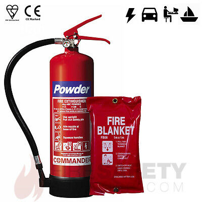 4kg Dry Powder Fire Extinguisher + 1m x 1m Fire Blanket