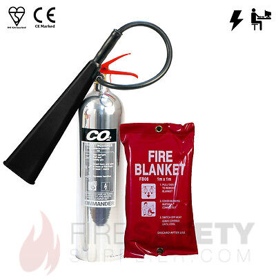 5kg CO2 Chrome Fire Extinguisher + 1m x 1m Fire Blanket