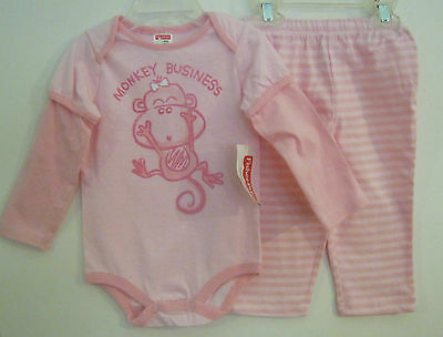 NEW W//T FISHER PRICE GIRLS MONKEY BUSINESS 2 PC OUTFIT SZ 3-6 M