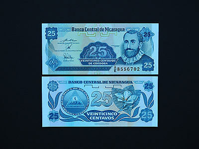 Nicaragua Banknotes   -  25 Centavos   - Date 1991  -  Small Note Gem Unc