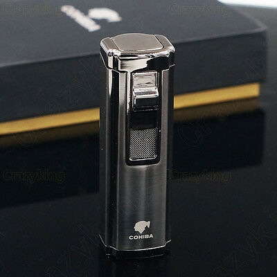 COHIBA Black Metal 3 Torch Jet Flame Butane Gas Cigarette Cigar Lighter Punch