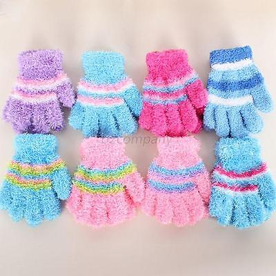 Unisex Kids Baby Child Warm Winter Gloves Toddler Baby Striped Mittens 8 Colors