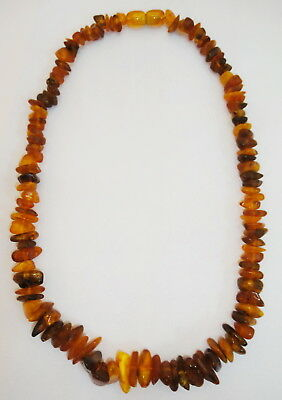 Natural Polished Old Antique Genuine Baltic Egg Yolk Amber Necklace 26 Gr. 12