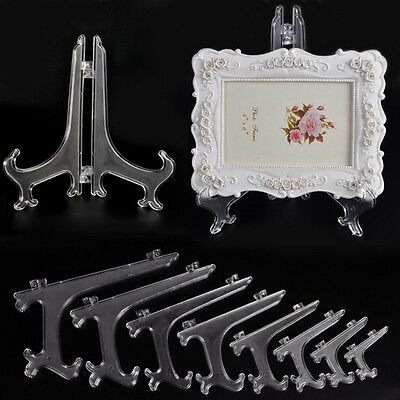 """1pc Clear/Black Plastic Plate Display Stand Picture Frame Easel Holder 3-11"""""""