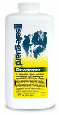 Safe-Guard (Fenbendazole) Dewormer Liquid 1000ml For Goats Beef & Dairy Cattle