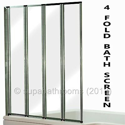 Bathroom Chrome 4 Fold Bath Shower Glass Collapsing Screen Panel