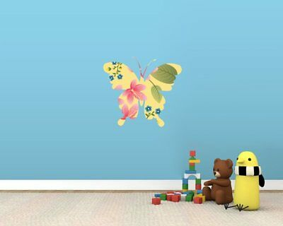 Yellow Butterfly With Blue And Pink Flowers Full Colour Wall Sticker - Medium