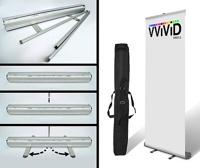 """Banner Stand 32"""" wide x 79"""" tall Retractable Trade Display Sign Model CL-R-S-3"""