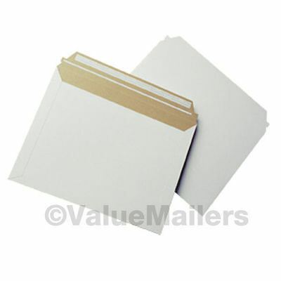 "200 - 12.5"" x 9.5"" Self Seal White Photo Stay Flats Cardboard Envelope Mailers"
