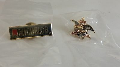 Anheuser Busch  And  Michelob Two Pin Lot New In Package  Lapel Hat Vest