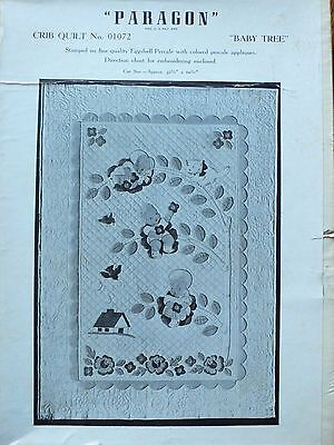 EXCITING rare COMPLETE 1940 Paragon BABY TREE peach pastel cotton crib quilt KIT