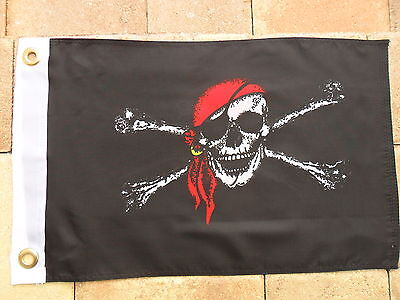 """Jolly Roger Red Cap Double Sided Pirate Flag 12""""x18"""" Boat/motorcycle"""