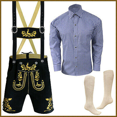 Authentic German Bavarian Oktoberfest Short Lederhosen Shirt Socks Package GP334