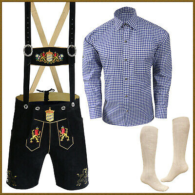 Authentic German Bavarian Oktoberfest Short Lederhosen Shirt Socks Package GP735