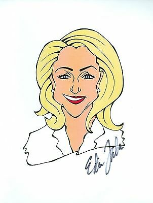 "EDITH EDIE FALCO ""Carmela"" The Sopranos Signed Auto 8.5x11 Cartoon Autograph a"