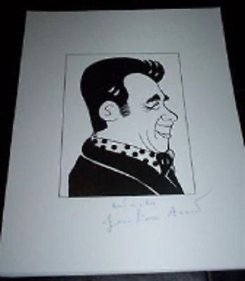 JEAN PIERRE AUMONT (Jan 1911 - Jan 2001) Signed Auto 8.5x11 Cartoon Autograph