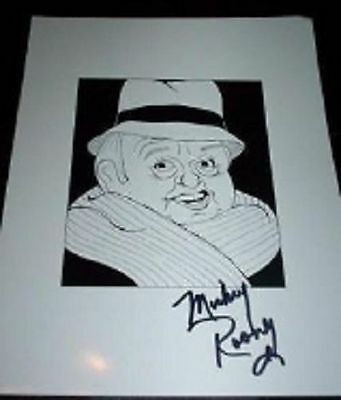 MICKEY ROONEY Night At The Museum, The Muppets Signed 8.5x11 Cartoon Autograph