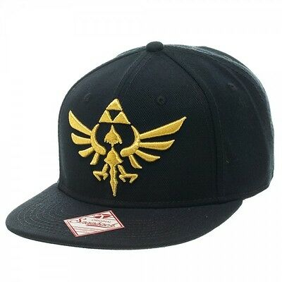 df38dcebeeef1 Nintendo Legend Of Zelda Black Gold Triforce Logo Snapback Hat Cap Flat Bill  Nwt