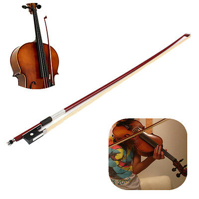 4/4 Black Handle Arbor Copper Horsehair Round Fiddle Violin Bow Stick 73cm