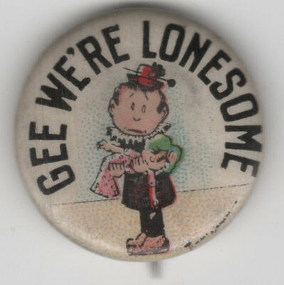 Girl & Her Doll GEE WE'RE LONESOME Vintage Tokio Cigarettes Advertising Pin