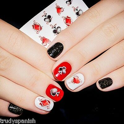 Nail Art Stickers Nail Water Decals Transfers Poker Aces Playing