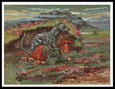 Scottish Deerhound Deer Stalking Comic Image Vintage Style Dog Print Poster