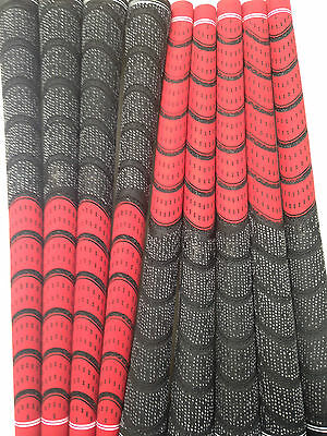 New Set of 9 red and Black Dual Compound Golf Grips + Tape