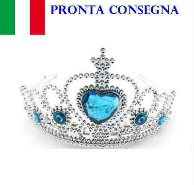 Corona Frozen Elsa Regina Delle Nevi Tiara Pietre Girl Crown Dress Up Bimba New