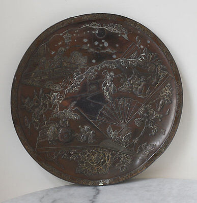 Large antique dated 1900 JAPAN bronze plate with figural decoration, geishas