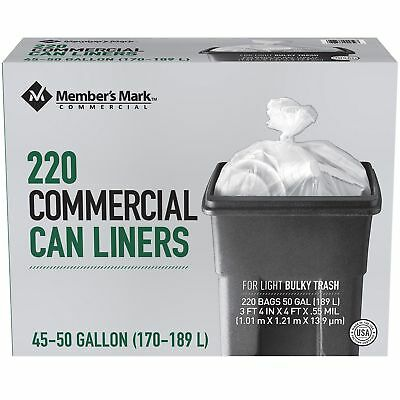 ProForce Commercial 45-50 gal. Garbage Can Liners Trash Bags  220 ct