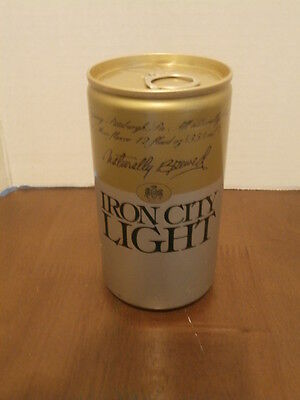 Vintage Iron City Light Beer Steel Can 12 Oz. Bottom Opened