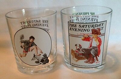 "Set of (2) Norman Rockwell ""Saturday Evening Post"" Drinking Glasses"