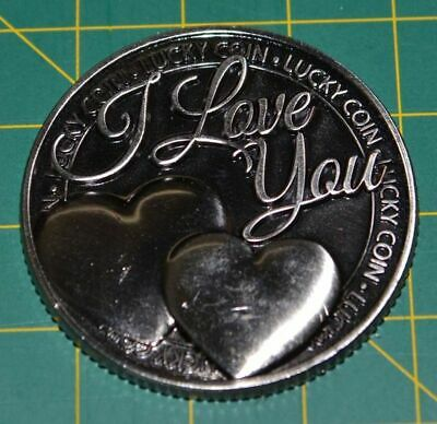 Lucky Coin - I Love You, (Hearts), 35mm Diameter Coin, A Beautiful Gift