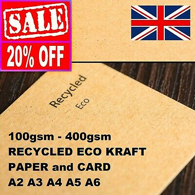 A4 A5 RECYCLED KRAFT BROWN CARD PAPER CRAFT MAKING STOCK TAG LOT 100gsm - 300gsm