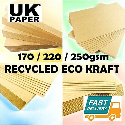 A4 / A5 NATURAL ECO 100% RECYCLED KRAFT BROWN QUALITY CARD 170gsm WEDDING CRAFTS
