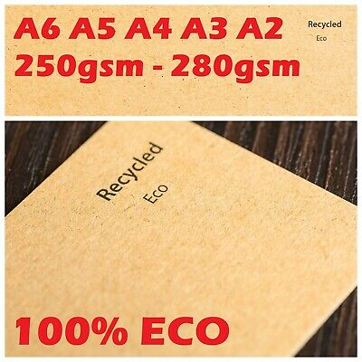 A4 / A5 NATURAL ECO 100% RECYCLED KRAFT BROWN QUALITY CARD 250gsm WEDDING CRAFTS
