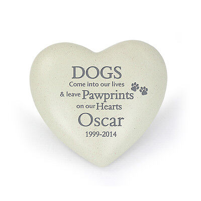 Personalised Pet Dog Memorial Heart (Grave Ornament, Remembrance