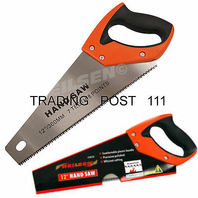 """Neilsen Hand Saw 12"""" 300mm Steel Polished Blade Rubber Grip Handle Wood  18A"""