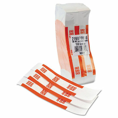 Self-Adhesive Currency Bands Straps, Orange, $50 in $1 Bills, 1000 Bands/Box