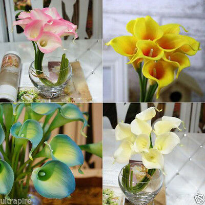 10PCS Latex Real Touch Calla Lily Flower Bouquets Bridal Wedding Home Decor 2015
