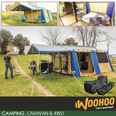 Deluxe Canvas Cabin Tent, 2 Room, 12 Person, 12 x 15 plus Awning