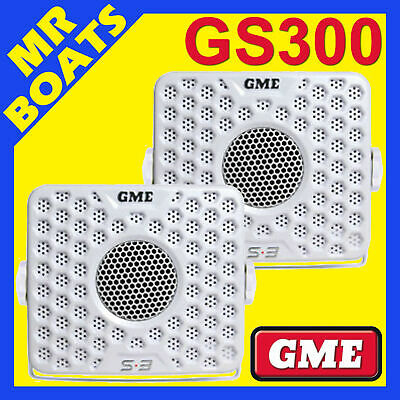 2 X GME ✱ GS300 MARINE BOX SPEAKERS 60W ✱ WHITE PAIR Boat Stereo S3 FREE POSTAGE