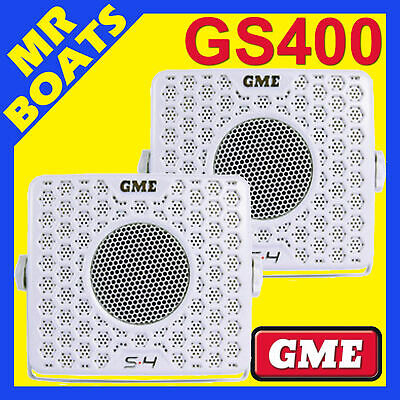 2 X GME ✱ GS400 MARINE BOX SPEAKERS 80W ✱ WHITE PAIR Boat Stereo S4 FREE POSTAGE