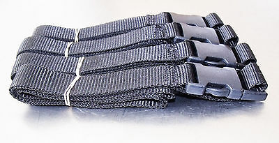 4-pack of 1.5m x 25mm, Black, Side-Release Buckle, Suitcase, Tie-Down Straps
