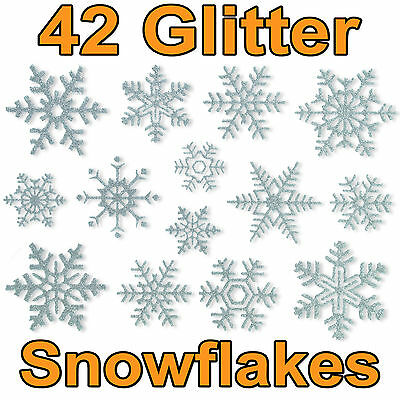 42 Glitter Snowflake Window Clings Stickers Quick Simple Christmas Decorations