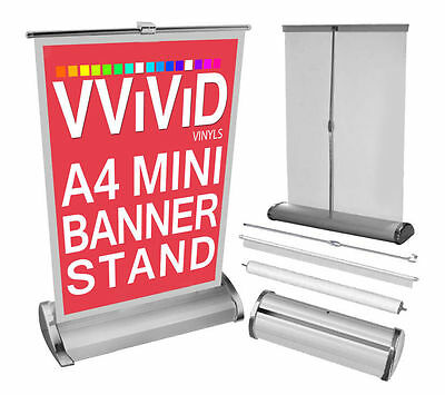 """A4 Mini Table Top Advertising Banner Stand 8.3"""" Wide 12"""" Tall Roll Up"""