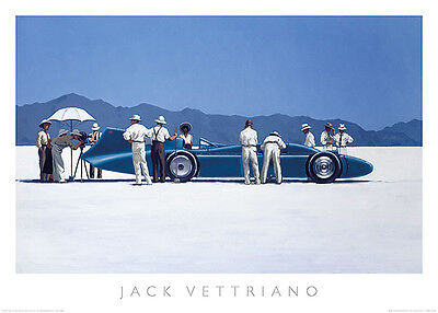 Jack Vettriano Bluebird at Bonneville Vintage Racing Car  Print Poster 27.5x19.5