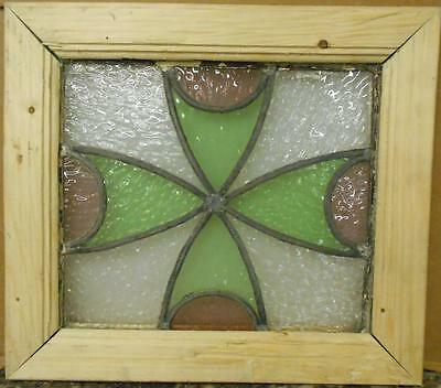 """OLD ENGLISH LEADED STAINED GLASS WINDOW Cute Tiny Floral Design 13.75"""" x 12.25"""""""