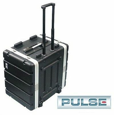 Rolling 8 Rack Space Pro Audio ABS Plastic Road Case. New Roller Unit w/Handle.