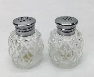 Clear Glass Diamond Cut Salt and Pepper Shakers Japan Vintage RARE